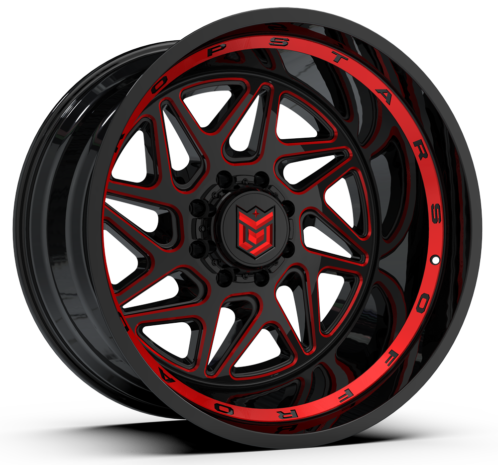 657BMR | GLOSS BLACK w/ RED TINTED CNC MILLED ACCENTS